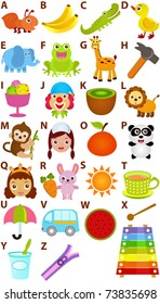 Vector of cartoons Alphabet A to Z, simple dictionary for Kids. A set of cute and colorful back to school icon collection isolated on white background