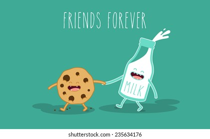 Vector cartoons of comic characters bottle of milk and cookies. Friends forever. Breakfast