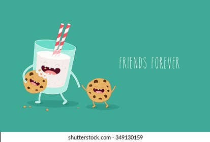 Vector cartoons of comic characters glass of milk and cookies. Friends forever. Breakfast