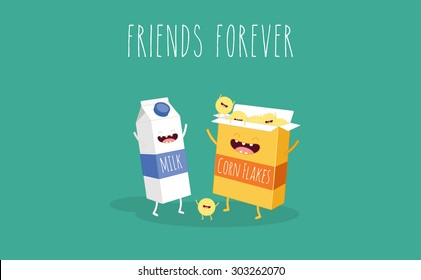 Vector cartoons of comic characters milk and cornflakes. Friends forever. Breakfast