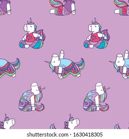 Vector cartoonseamless pattern with cute magical unicorn doing yoga exercises and meditation