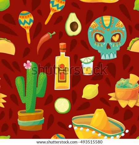 Vector Cartoonstyle Mexico Latin America Symbols Stock Vector