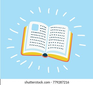 Vector cartooon illustration of Book icon vector, solid illustration, pictogram isolated on blue