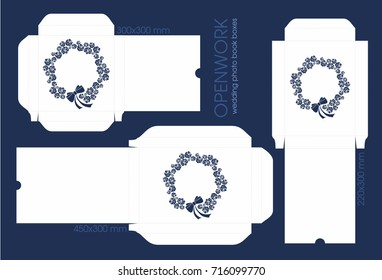 Vector carved wedding photobook boxes for laser cutting. Template photobook boxes with roses and decorative elements. Photobook with standart proportions