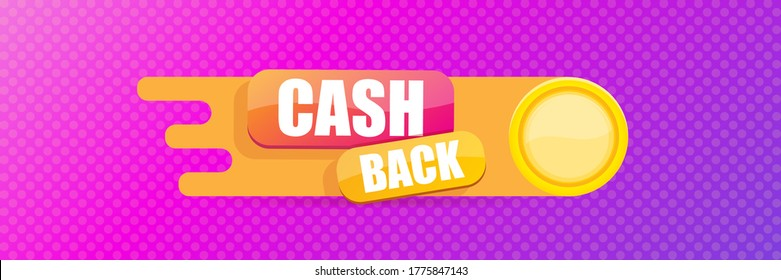 vector cash back icon with golden coins isolated on violet horizontal banner background. cashback or money refund label horizontal banner