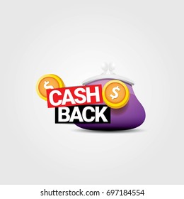vector cash back icon with golden coins and wallet isolated on grey background. cashback or money refund label for banners and web sites
