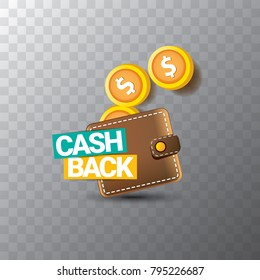 vector cash back icon with golden coins and wallet isolated on transparent background. cashback or money refund label