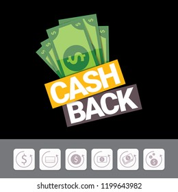 vector cash back icon isolated on black background. cashback or money refund label