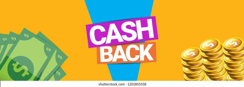 vector cash back icon isolated on orange background. cashback or money refund horizontal banner