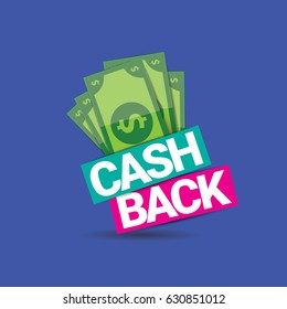 vector cash back icon isolated on blue background. cashback or money refund label