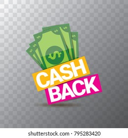 vector cash back icon isolated on transparent background. cashback or money refund label