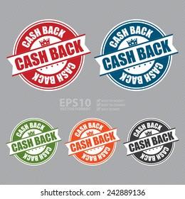 Vector : Cash Back Sticker, Icon or Label