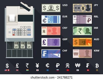 Vector cash register and currency set