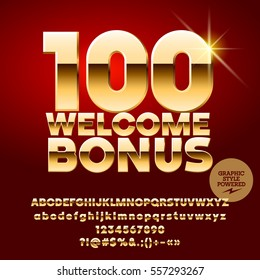 Vector casino banner 100 Welcome Bonus. Set of letters, numbers and symbols. Contains graphic style.