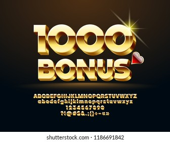 Vector Casino Banner 1000 Bonus. Set of Chic Letters, Numbers and Symbols. 3D Golden Font.