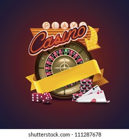 Vector casino icon. Includes roulette, casino chips, playing cards, advertising neon sign and blank yellow ribbon allowing to add text