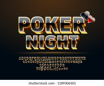 Vector Casino icon Poker Night. Set of Black and Gold Letters, Numbers and Symbols. Chic 3D Font.