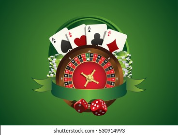 Vector casino logo. Includes roulette, casino chips, playing cards and blank green ribbon allowing to add text