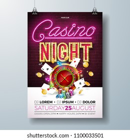 Vector Casino night flyer illustration with gambling design elements and shiny neon light lettering on brick wall background. Lighting signboard, roulette wheel, playing chips, gold coin and poker
