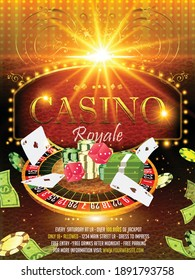Vector Casino night flyer illustration with gambling design elements and shiny neon light lettering on light background. Luxury invitation poster template with dice, casino wheel, money, playing cards