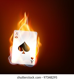 vector casino playing card on fire