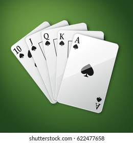 Vector casino playing cards or royal straight flush top view isolated on green poker table