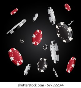 Vector casino poker chips flying and exploding in front of black background