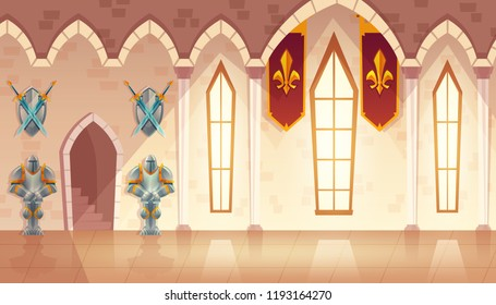 Vector castle hall, hallway in medieval palace, ballroom for dancing and royal receptions. Rich interior with gobelins and weapons on walls, knights in armor, large windows. Fantasy game background