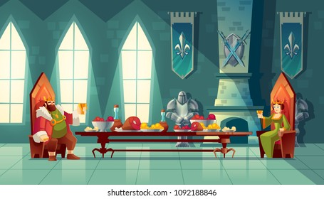 Vector castle hall with king and queen eat lunch. Feast table with food, banquet party. Interior of royal ballroom with throne for luxury banket. Cartoon furniture in medieval palace