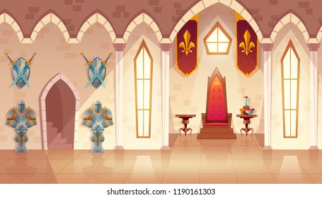 Vector castle hall with windows. Interior of royal ballroom with throne, table and guards in knight armor. Luxury furniture with flags in medieval palace. Fantasy, fairy tale or game background.