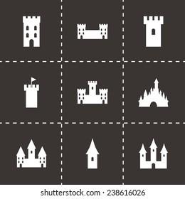 Vector castle icon set on black background