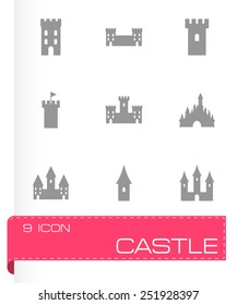 Vector castle icon set on grey background