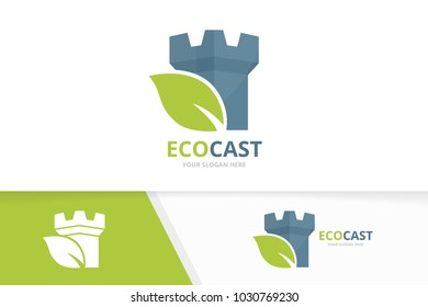 Vector castle and leaf logo combination. Tower and eco symbol or icon. Unique fortress and organic logotype design template.