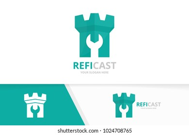 Vector castle logo combination. Tower and repair symbol or icon. Unique fortress and fix logotype design template.
