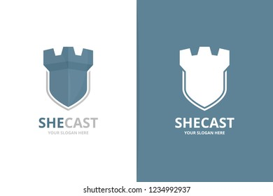 Vector castle and shield logo combination. Tower and security symbol or icon. Unique fortress and guard logotype design template.