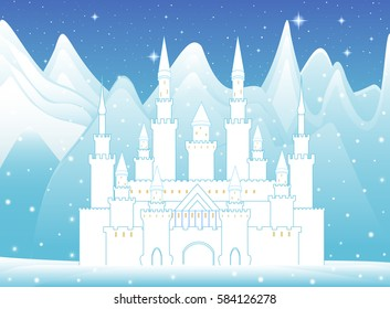 Vector castle of snow queen in frozen forest and winter mountains