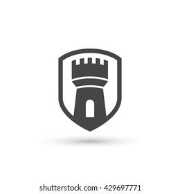 Vector castle tower shield icon