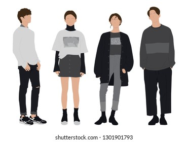 vector, casual, isolated, illustration, young, clothes, outfit, fashion, man, style, cartoon, male, people, character, white, person, adult, set, boy, guy, background, flat, handsome, cute, teenage, m