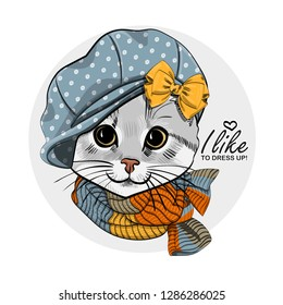 Vector cat with blue hat and knitted  scarf. Hand drawn illustration of dressed cat