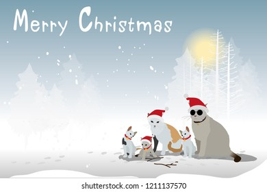 vector cat family wear santa claus hat sitting on snow and pine tree
