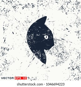 Vector cat head, face  on grunge background