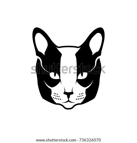 vector cat head face retro hipster stock vector royalty free