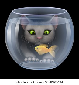 Vector. Cat hunting fish in the aquarium, funny cat looks, catches a small goldfish. Hungry curious kitten wants to eat. illustration3D, realistic illustrations.