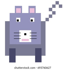 Vector cat are made of squares and rectangles