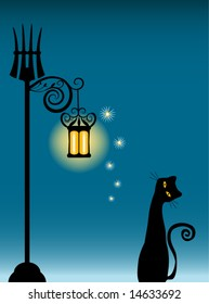 Vector Cat and Old Lantern Illustration