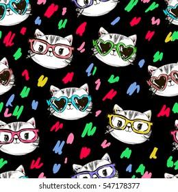 vector cat pattern, cat illustration seamless, Graphic Design pattern