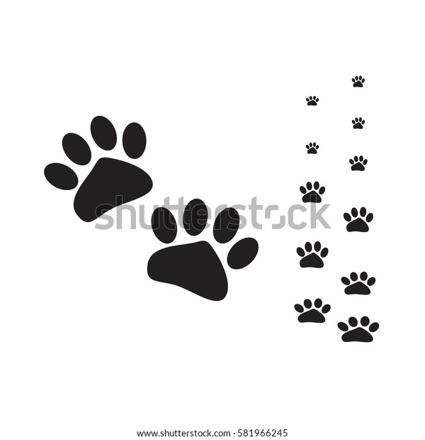 vector cat paw flat black design with cat walk line