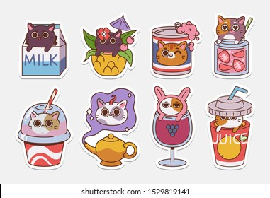 Vector Cat stickers. Illustrations of Drinks With cute cats. Non alcoholic drinks and coctails.