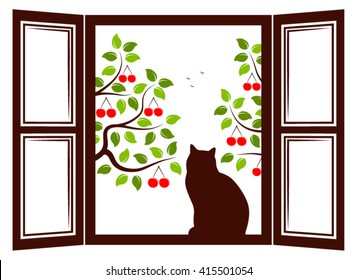 vector cat in the window and cherry trees outside the window
