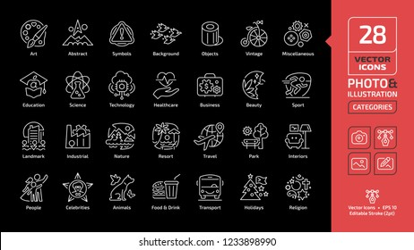 Vector category and theme editable stroke line icon on a black background for photo and illustration with art, abstract, textures, objects, vintage, miscellaneous, education thin outline pictogram.